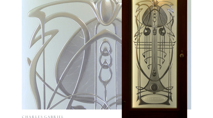 Charles Gabriel_Sculptural Glass_hand-carved and kiln-fired art glass_Codswallop-on-sea_arts & crafts/art nouveau style entry doorlite design in wood door