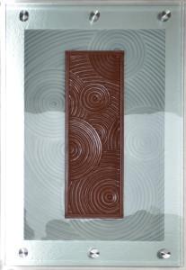 zen garden-charles gabriel-glassworks-carved glass-art glass-kiln worked glass-frit on glass-wall mount glass on stainless