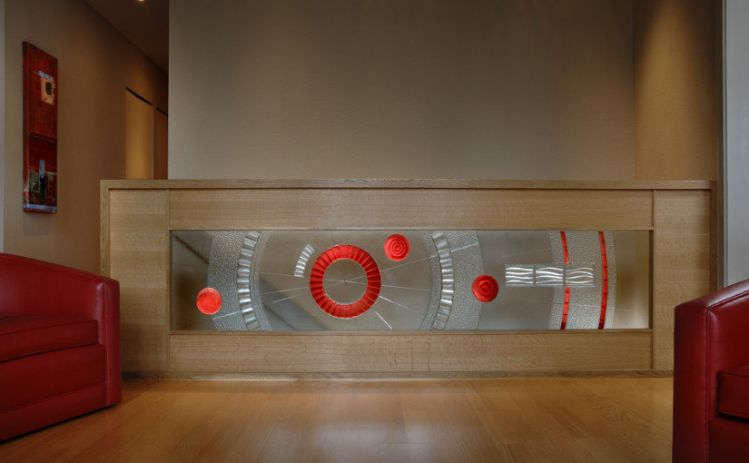 "Charles Gabriel_Sculptural Glass_hand-carved and kiln-fired architectural art glass_""MELROSS""_ interior railing carved and hi-fired with red frit"