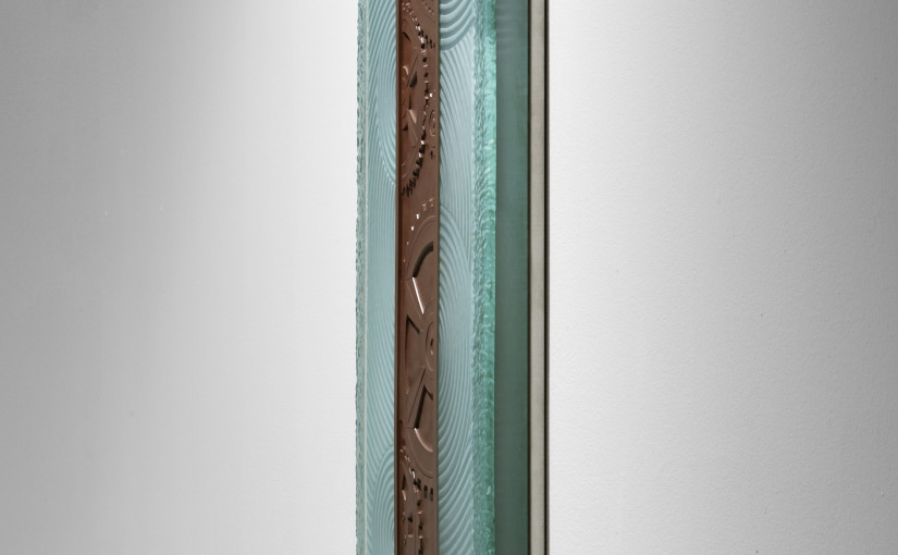 "Charles Gabriel_Sculptural Glass_hand-carved and kiln-fired art glass_""Chocolate""_ side view of carved and kil-worked glass mounted on wall with stainless hardware"